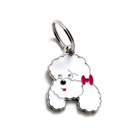 Placa Identificativa Perro Caniche Poodle Blanco