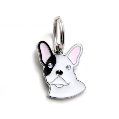 Placa Identificativa Perro Bulldog Frances Blanco