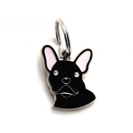 Placa Identificativa Perro Bulldog Frances Negro