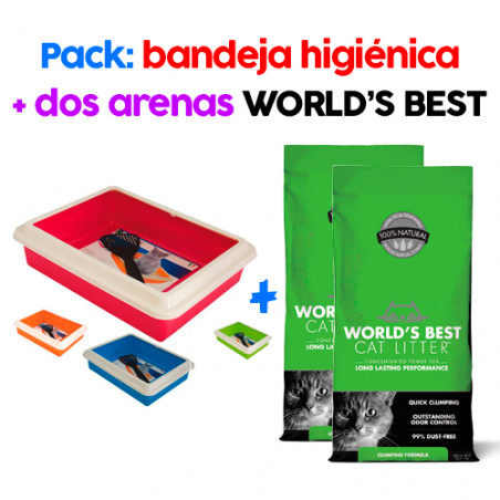 .PACK Bandeja Higiénica + 2 Arenas para Gatos World's Best