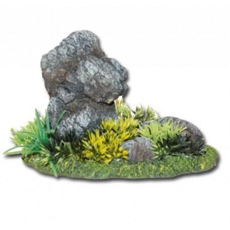 Roca Japonesa Con Plantas Decoración Acuario