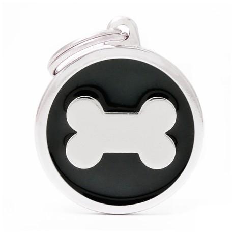 Placa Identificativa Perro Hueso Negro