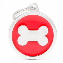 Placa Identificativa Perro Hueso Rojo
