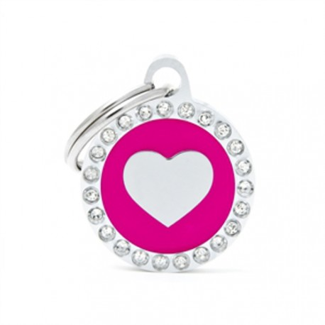 Placa Identificativa Corazón Fucsia Brillantes