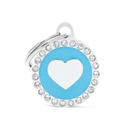 Placa Identificativa Corazón Azul Brillantes