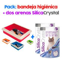 .PACK Bandeja higienica + 2 Arenas de sílice para gato con aroma