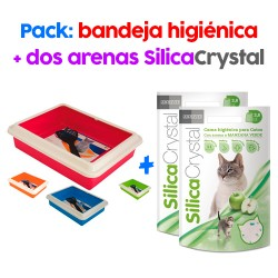 .PACK Bandeja Higiénica + 2 Arenas de sílice para gato con aroma