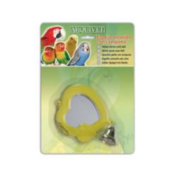 Juguete Espejo Corazón Amarillo con Campana para Pájaros