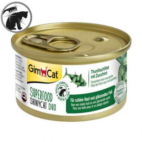 Latas gimcat shinycat duo atún y calabacín para gatos