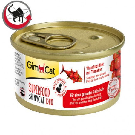 Latas gimcat shinycat duo atún y tomate para gatos