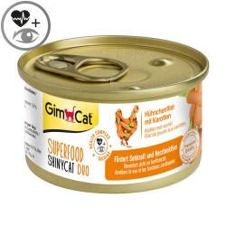 Latas gimcat shinycat duo pollo y zanahoria para gatos
