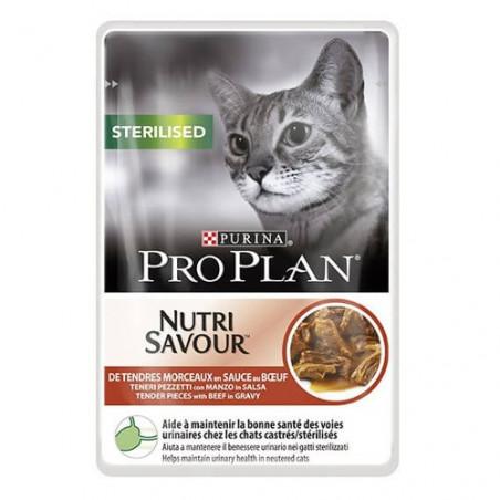 Purina pro plan para gatos esterilizados con buey 85 grs