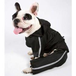 Chubasquero negro bandas reflectantes con patas para perros