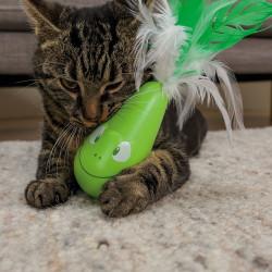 Rana vibratoria con plumas para gatos