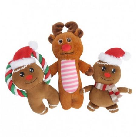 Juguete reno y muñeco de Navidad para perros