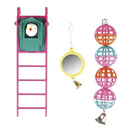 Kit de juguetes para pájaros con escalera