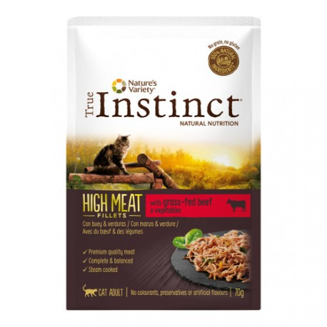 Sobre True Instinct High Meat Buey con Verduras para gatos