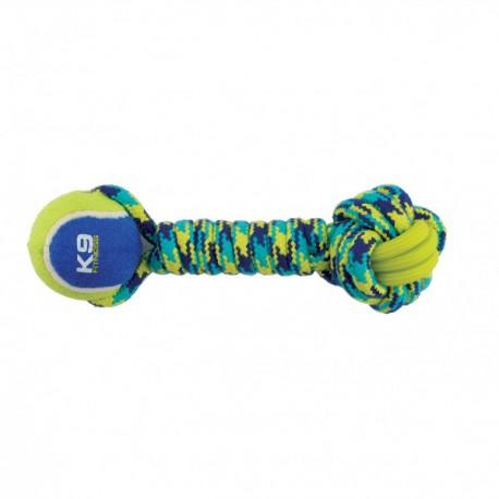 Juguete K9 Fitness de Zeus Rope y TPR Ball Dumbbell para perros