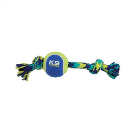 Juguete K9 Fitness by Zeus Knotted Rope Bone with Tennis Ball para perros