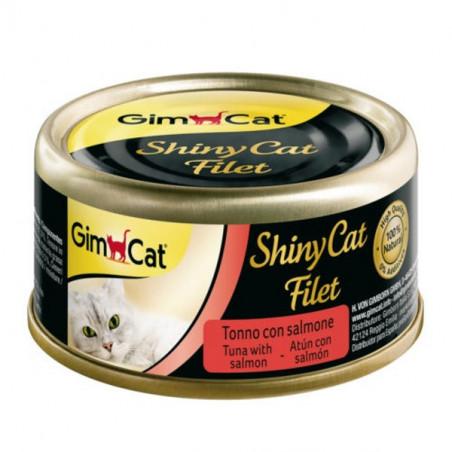 Latas gimcat shinycat filete de atún y salmón para gatos 70g