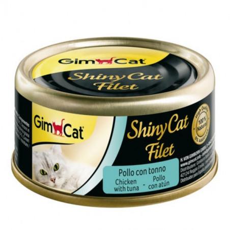 Latas gimcat shinycat filete de pollo y atún para gatos