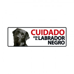 Placa Flexible De Advertencia Cuidado Con El Labrador Negro