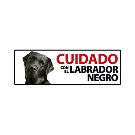 Placa Flexible De Advertencia Cuidado Con El Labrador Negro