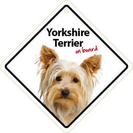 Señal Yorshire Terrier A Bordo Para El Coche Con Ventosa