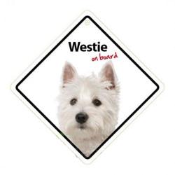 Señal Westie A Bordo Para El Coche Con Ventosa