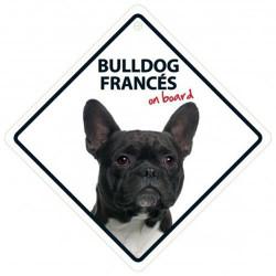 Señal Bulldog Francés A Bordo Para El Coche Con Ventosa