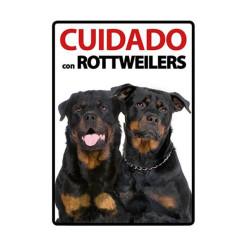 Placa Flexible De Advertencia Cuidado Con Rottweilers