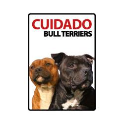 Placa Flexible De Advertencia Cuidado Bull Terriers