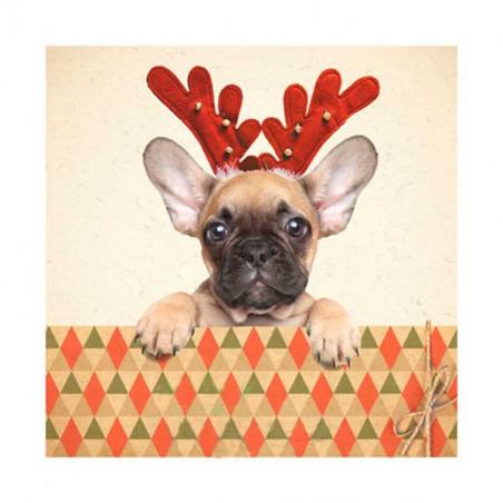 Tarjeta De Navidad Frenchie Con Astas
