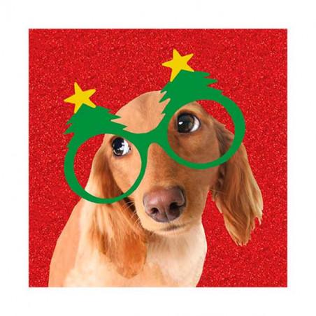 Tarjeta De Navidad Teckel Con Gafas De Arbol
