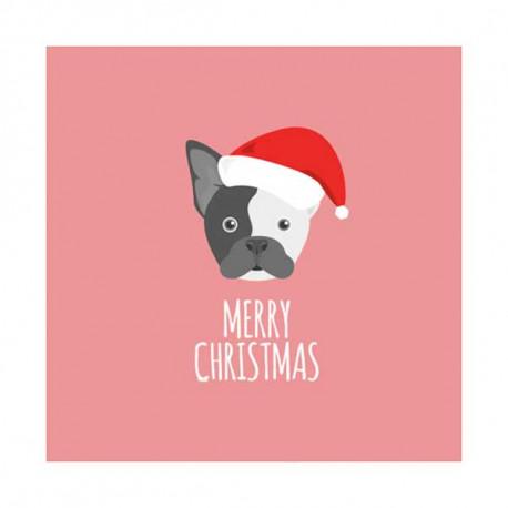 Tarjeta De Navidad Dibujo Boston Terrier