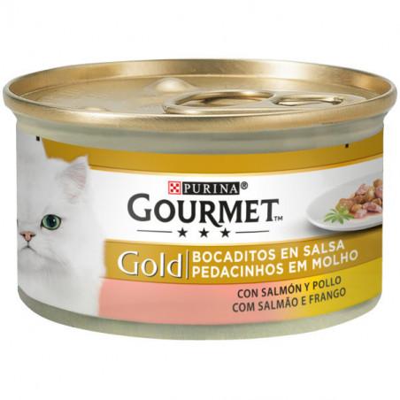 Friskies Gourmet Gold Bocaditos Salsa Salmon y Pollo 85g
