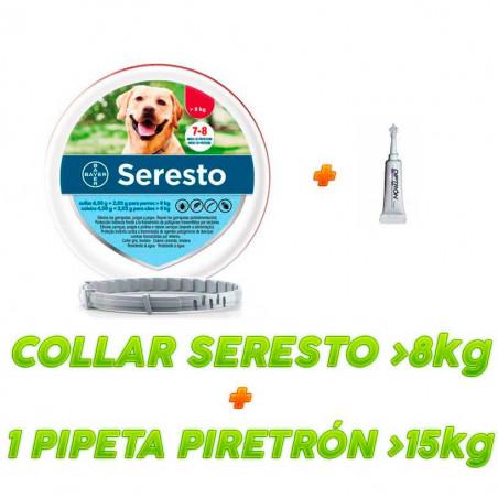 Collar Seresto + 1 Pipetas Piretrón Monodosis