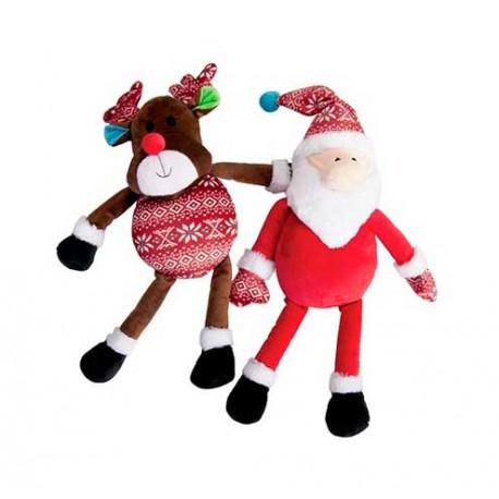 Peluche Navideño Santa Claus o Reno con Chirriador