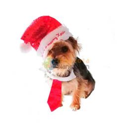 Gorro, Corbata Complementos Navideños para Perro