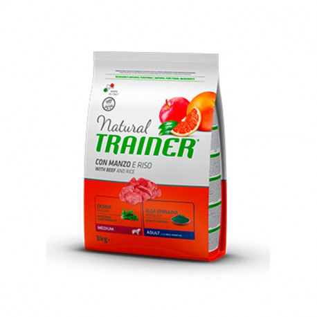 Natural Trainer Ternera y Arroz Adult Raza Mediana