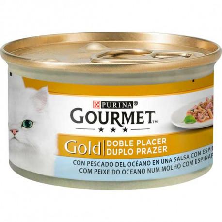 Gourmet Gold Doble Placer Pescado del océano con espinacas