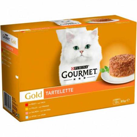 Friskies Gourmet Gold Tartelette Surtidos Buey, Pollo, Atún y Salmón 12 Latas de 85g