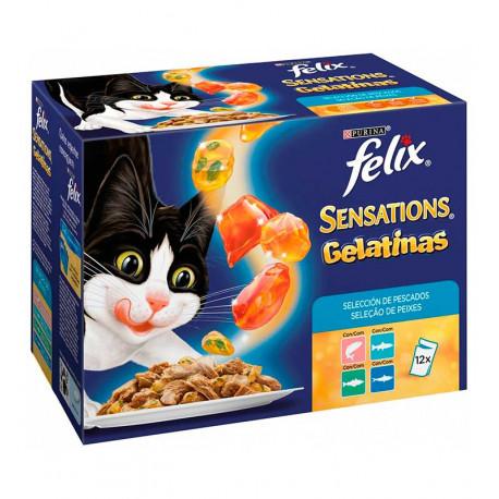Purina Felix Sensations Gelatinas Selección Pescados 12 Sobres