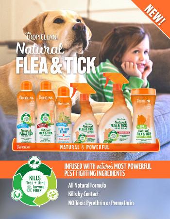 TropiClean Natural champú pulgas y garrapatas pieles sensibles