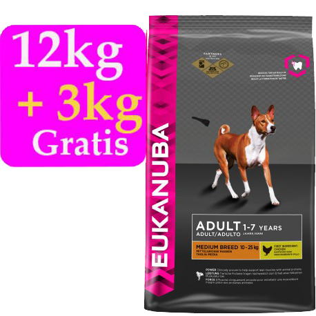 .Oferta Eukanuba Adult Medium Mantenimiento 12kg + 3kg