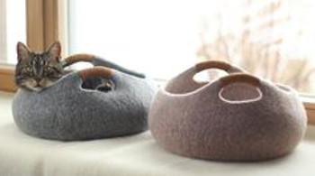 Cesta basket bowl gris para gatos